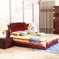 印尼黑酸枝财源滚滚大床 红木双人床 2米婚嫁床