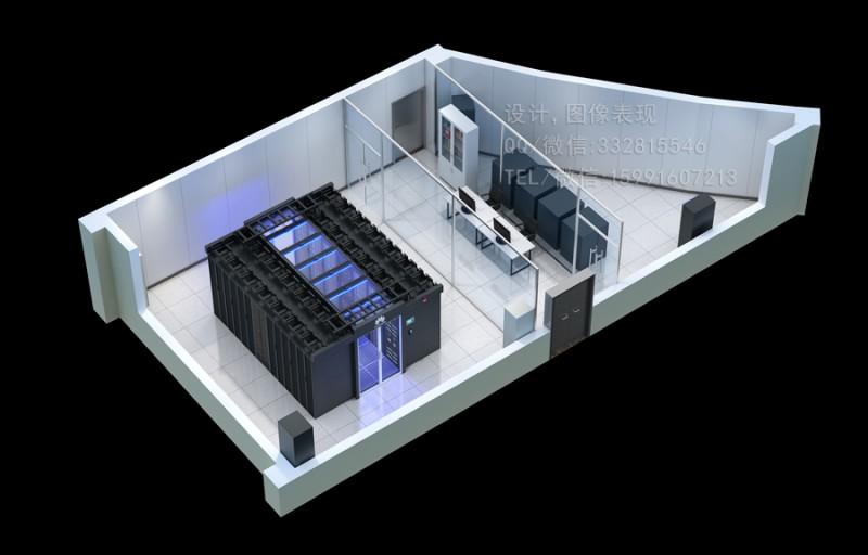 大连微模块冷通道机房效果图制作|高压配电柜|室内鸟瞰图