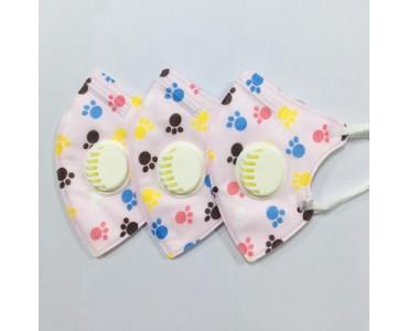 福建厂家供应KN95儿童口罩 带呼吸阀 卡通动物脚印图案